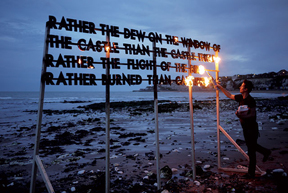 Art, text and fire poems  Robert Montgomery | Jean-Charles de Castelbajac | Blair Chivers