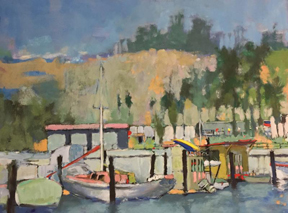 "Santa Barbara Harbor  Oil on canvas, 16 1/4"" x 21 1/2""   Collection Betty Angus,  Estate of Patrick Angus © Douglas Blair Turnbaugh"