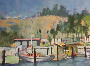 "Santa Barbara Harbor  Oil on canvas, 16 1/4"" x 21 1/2""   Collection Betty Angus,  Estate of Patrick Angus © Douglas Blair Turnbaugh"