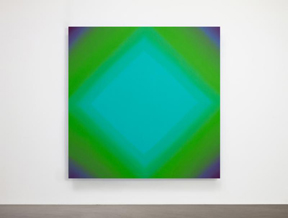 Ruth Pastine, Inevitability of Truth 1-S7272 Square Diamond (Red Green/Phthalo Green), Inevitability of Truth Series, 2015,   Oil on canvas over beveled stretcher, 72x72 inches