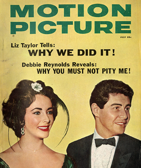 Elizabeth Taylor and Eddie Fisher, on the cover of Motion Picture magazine, July 1959.