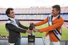This could get messy! Sydney 2000 Olympic show jumping gold medallist and current World and European champion Jeroen Dubbeldam of the Netherlands, and Spain's best known and most successful show jumping rider, Sergio Alvarez Moya at the iconic Camp Nou stadium iwrestling with the Furusiyya trophy n the countdown to the Furusiyya FEI Nations Cup Jumping Final at the neighbouring Real Club de Polo de Barcelona (24-27 September). FEI/Dan Rowley