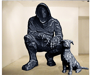 CYRILLE ANDRÉ Project for « Témoin », 2016 Polyester resin and aluminium Dog: cm 110 x 118 x 53 Figure: cm 263 x 160 x 155