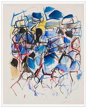 "JOAN MITCHELL,  UNTITLED  1967-68, watercolor on paper  16"" x 13"" paper, 19 1/2"" x 22 3/4"" framed"