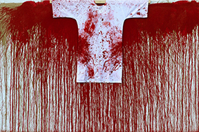 Hermann Nitsch  Schüttbild  2016 Acrylic on Jute with painted shirt 78.75 x 118 inches (200 x 300cm)