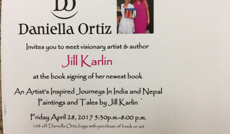 "Jill Karlin ""An Artist Inspired Journey In India and Nepal"" book signing on April 28th at 256 Worth Avenue in Palm Beach"
