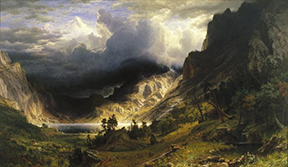Albert Bierstadt (American, born Germany, 1830-1902). A Storm in the Rocky Mountains, Mt. Rosalie, 1866. Oil on canvas, 83 x 142 ¼ in. (210.8 x 361.3 cm). Brooklyn Museum, Dick S. Ramsay Fund, Healy Purchase Fund B, Frank L. Babbott Fund, A. Augustus Healy Fund, Ella C. Woodward Memorial Fund, Carll H. de Silver Fund, Charles Stewart Smith Memorial Fund, Caroline A. L. Pratt Fund, Frederick Loeser Fund, Augustus Graham School of Design Fund, Museum Collection Fund, Special Subscription, and John B. Woodward Memorial Fund; Purchased with funds given by Daniel M. Kelly and Charles Simon; Bequest of Mrs. William T. Brewster, Gift of Mrs. W. Woodward Phelps in memory of her mother and father, Ella M. and John C. Southwick, Gift of Seymour Barnard, Bequest of Laura L. Barnes, Gift of J. A. H. Bell, and Bequest of Mark Finley