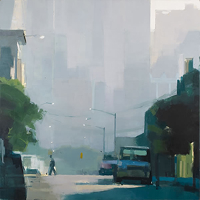 Lisa Breslow - Summer Haze, 40 x 40 inches, oil on panel