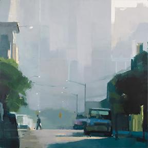 Lisa Breslow - Summer Haze, 40 x 40 inches, oil on panel
