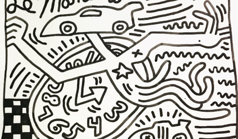 Keith Haring, Untitled, 1984, Sumi ink on paper, 36 x 48 inches