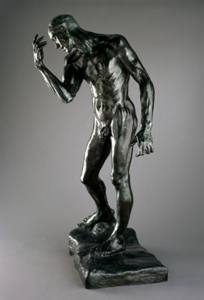 Auguste Rodin (French, 1840-1917). Cast by Fonderie de Coubertin, Saint-Rémy-les-Chevreuses, France. Pierre de Wiessant, Monumental Nude (Pierre de Wiessant, nu monumental), 1886, cast 1983. Bronze, 78 ¼ x 44¾ x 36½ in. (198.8 x 113.7 x 92.7 cm). Brooklyn Museum; Gift of the B. Gerald Cantor Collection, 86.310. (Photo: Justin Van Soest)
