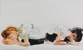 Tawan Wattuya, Twins Series, 2017, watercolor on paper, 31.5 x 51.2 inches/80 x 130 cm