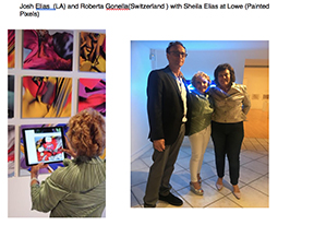 Josh Elias (LA) and Roberta Gondola (Switzerland) with Sheila Elias at the Lowe Art Museum (Painted Pixels)