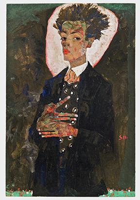 Egon Schiele, Selbstporträt mit Pfauenweste, stehend (Self-Portrait with Peacock Waistcoat, Standing), 1911.